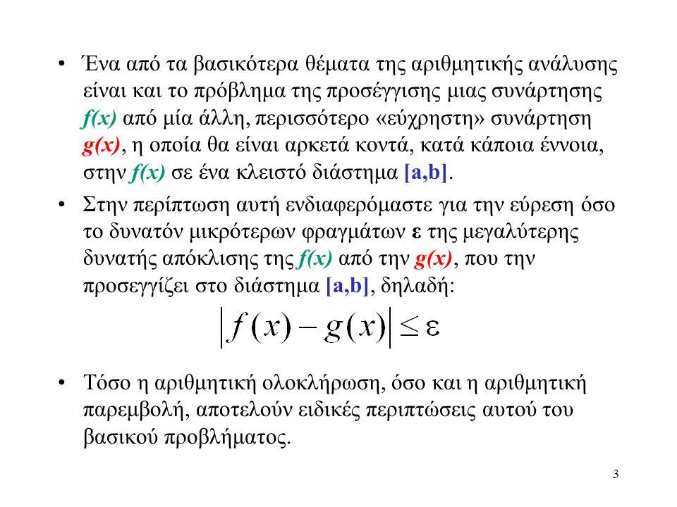 Ένα από τα βασικότερα θέματα της αριθμητικής ανάλυσης είναι και το πρόβλημα της προσέγγισης μιας συνάρτησης f(x) από μία άλλη, περισσότερο «εύχρηστη» συνάρτηση g(x), η οποία θα είναι αρκετά κοντά, κατά κάποια έννοια, στην f(x) σε ένα κλειστό διάστημα [a,b].